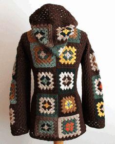 La abuela cuadrado suéter del ganchillo por Crochetbycindi en Etsy