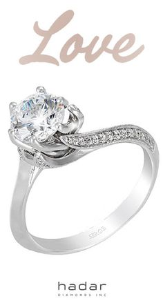 Asymmetrical Solitaire Engagement Ring with side diamonds by HadarDiamonds.com . Experience lavish design and superior quality at a sensible price.  Custom made with Love in Southern California. #asymmetricalring