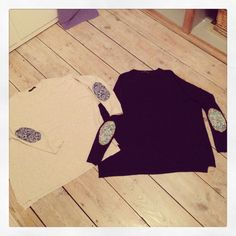 Cream and navy oversized crew neck knits with Liberty of London elbowpatches