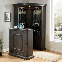 Corner Bar Cabinet, Corner Curio, Home Bar Cabinet, Cabinet Space, Bar Cabinets For Home, Corner Home Bar, Tall Bar Cabinet, Liquor Cabinet, Home Bar Rooms