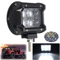 18W 4 Inch 4D Projector Lens Spot Beam LED Work Light for ATV Truck Tractor SUV Jeep