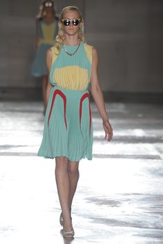 Prada Spring 2012 RTW: Muted green with pastel yellows.