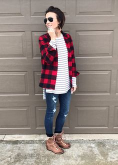 ONE little MOMMA: December Everyday Style. Includes tips on how to wear:  boots, buffalo plaid, cardigan, coat, distressed denim, everyday style, knee high boots, plaid, snow boots, leather, leather earrings.