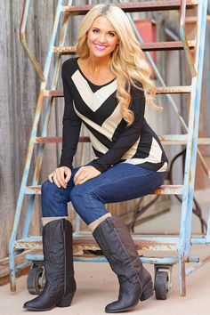 Can't Help But Smile Top - Black/Taupe from Closet Candy Boutique #fashion #shop