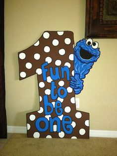 One Birthday Number Party Prop Sesame Street  Cookie Monster. $80.00, via Etsy.