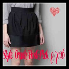 STYLE Crush HP Zara Skirt ⚡️Sassy Black Skirt This darling little Zara skirt is so adorable. Can be worn with anything from dressy sweater to crop T-shirt. Black mixed media fabric and faux leather that go all the way around the skirt bottom.  This is like the little black skirt you will wear for years!🔴Please ask any questions before purchasing. Not returnable if sizing is not right for you. Zara Skirts Mini