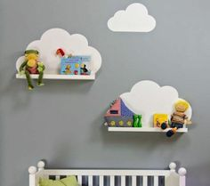 Create this adorable look with some floating shelves and our Vinyl Wall Cloud Decals (VINYL ONLY *shelves not included) 3 piece set of Vinyl Clouds - see second picture to see what is included For ref Clouds Nursery, Nursery Wall Decals, Nursery Room, Vinyl Wall Decals, Toy Story Nursery, Nursery Ideas, Cloud Shelves, Wall Shelves, Nursery Shelving