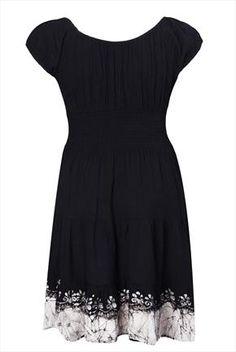 Black & ivory gypsy dress with tie dye hem & embroidery detail.