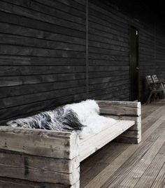 Bench from reclaimed beams