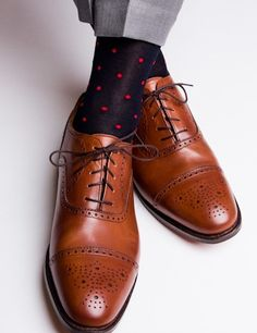 Navy with Red Dot Socks Linked Toe Mid-Calf