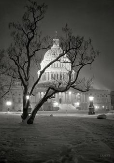 """Snowy Washington, D. circa """"East Front of U. Capitol at night in winter."""" nitrate negative by Theodor Horydczak. Source by mcmlxi Old Pictures, Old Photos, Vintage Photos, Shorpy Historical Photos, Historical Pictures, Creepy, Washington Dc Travel, Snow Scenes, Photography"""