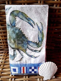 Blue Crab Paper Napkins 20 ct  Coastal Nautical Flags #CTS