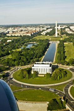 Aerial view of the Lincoln Memorial and Washington Monument, Washington, DC
