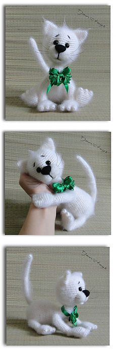 Белый кот OOAK Мягкие игрушки Вязание ручной Мягкая игрушка Тянь