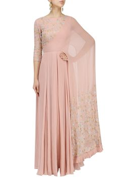 Blush Pink Floral Embroidered Attached Dupatta Anarkali by Seema Thukral Indian Gowns Dresses, Indian Fashion Dresses, Indian Designer Outfits, Designer Dresses, Fashion Outfits, Indian Outfits, Muslim Fashion, Pakistani Dresses, Party Wear Evening Gowns