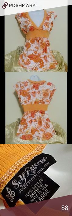 $4 WITH BUNDLE-CUTE EMPIRE WAIST TOP JRS L $4 with bundle. TO BUNDLE WITH MY $4 DEAL- BUNDLE YOUR QUALIFYING ITEMS, ADD THEM UP AT $4 EACH, HIT THE 'OFFER BUTTON ON YOUR BUNDLE WITH YOUR TOTAL! Cute sleeveless empire waist top with loose, flowy bottom. Orange floral design and trim on white. 100% cotton. Pre loved and in very good used condition. Self Esteem Tops Blouses