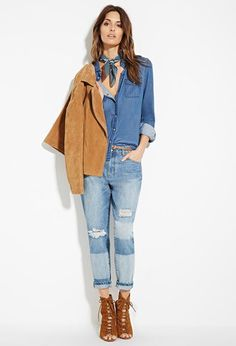 Contemporary Life in Progress Distressed Boyfriend Jeans | Forever 21 - 2000179224