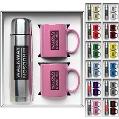 Awesome Gift Set! Say Thanks and Show them Apprecition at Thanksgiving Time! Promotional 3-Piece Hampton Mug and Thermos Gift Set | Customized Drinkware Gift Sets | Promotional Drinkware Gift Sets: