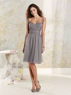 Alfred Angelo 8617S: Soft net cocktail length bridesmaid dress with sweetheart neckline, pearl beaded garland straps and draped bodice