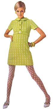 Twiggy shift dress yellow green day casual mini mod 60s