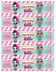 L.O.L Surprise Theme: – WATER BOTTLE BIRTHDAY LABELS *This is a PRINTABLE Birthday Water Bottle Labels (5) 2x 8size. *You will get a PDF file (8.5 x 11 sheet) with 5 L.O.L Surprise Water Bottle Labels. *INSTANT DOWNLOAD once the payment has been processed. - *Colors may vary between