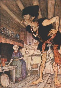 Fee-fi-fo-fum, I smell the blood of an Englishman. - Arthur Rackham's illustration for Jack and the Beanstalk
