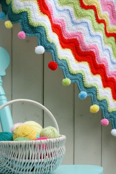 coco rose diaries crochet blanket pom-poms