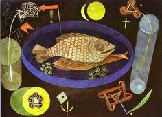'Aroundfish', öl von Paul Klee (1879-1940, Switzerland)