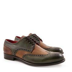 Handmade men's two tone full brogues derbies shoes - Italian Boutique €304