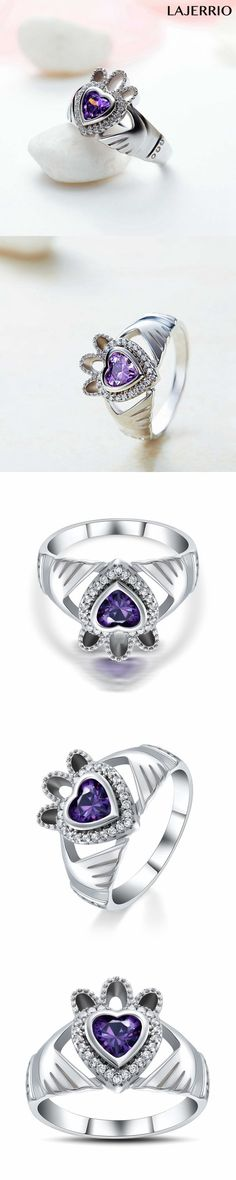 Lajerrio Jewelry Heart Cut Amethyst S925 Engagement Ring