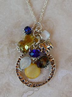 Yellow and Royal Blue Cluster Bead Pendant. $15.00, via Etsy.