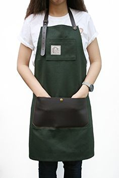 Looxury Aprons for Men and Women with Leather Pocket - Chef Kitchen Canvas Hairstylist Apron - Moss Green Cafe Uniform, Waiter Uniform, Restaurant Aprons, Restaurant Uniforms, Cute Aprons, Aprons For Men, Waitress Outfit, Hairstylist Apron, Jean Apron