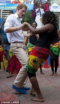 Prince Harry in Jamaica - love the blue suede shoes!
