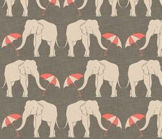 elephant and umbrella fabric via Spoonflower