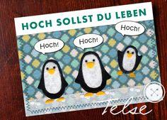 """""""3x hoch!"""" Pinguin Postkarte  von Telse Ahrweiler       Kunst + Design auf DaWanda.com"""