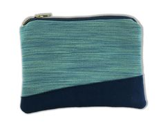 Blue and Green Zipper Bag by emitate on Etsy