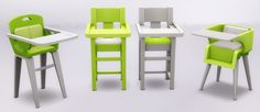 High Chair RecolorsRecolors of the three high chairs that came with the toddler update. Each comes in 15 colors, with the middle chair having both a white cushion + colored wood version and a white...