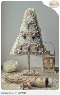 Home decor Christmas tree burlap with lace OOAK home by ArtWithice Fabric Christmas Trees, Burlap Christmas Tree, Mini Christmas Tree, All Things Christmas, Christmas Crafts, Christmas Ideas, Xmas Trees, Tree Centerpieces, Christmas Centerpieces