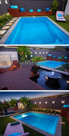 Tropical backyard featuring a Billabong Plunge Fibreglass Swimming Pool and deck. - Tropical backyard featuring a Billabong Plunge Fibreglass Swimming Pool and decking by Australian O - Swimming Pool Landscaping, Small Backyard Pools, Tropical Backyard, Backyard Pool Designs, Swimming Pools Backyard, Swimming Pool Designs, Backyard Landscaping, Landscaping Ideas, Pool Decks
