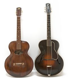 1898 Orville Gibson archtop and 1924 Lloyd Loar Gibson L-5 (photo Robert Corwin)
