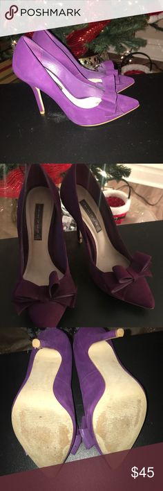 Steven by Steve Madden purple suede pumps with bow Steven by Steve Madden pumps, size 8. Purchased from Nordstrom in Chicago. Super comfortable and perfect for the holidays! Steven By Steve Madden Shoes Heels