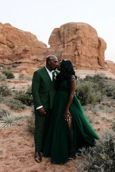 """After canceling plans for an estate wedding with 150 guests in Virginia, the Washington, D.C.-based couple swapped to the one place they knew they wanted to say """"I do"""" with an intimate group: Utah. Wedding Ceremony, Wedding Gowns, Wedding Bouquet, Green Pocket Square, Ribbon In The Sky, Emerald Green Weddings, Groom Shoes, Ceremony Decorations, Green Fashion"""