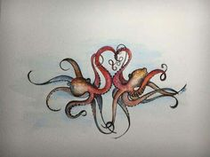 Octopus painting Watercolor Octopus Octopus by SheilaShamelStudio Bff Tattoos, Couple Tattoos, Future Tattoos, Body Art Tattoos, Sleeve Tattoos, Tatoos, Octopus Painting, Octopus Art, Octopus Tattoo Design