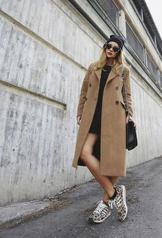 trending: the camel coat - worn with a black dress, leopard adidas, a beanie, and round sunglasses cheap rayban sunglasses,rayban discount