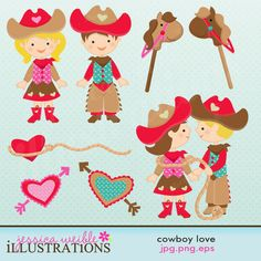 Cowboy Love Cute Clipart Set comes with 8 adorable cowboy love images including: a Valentine Cowgirl, a Valentine Cowboy, Gotcha! Cowboy and Cowgirl together, 2 ponys, a lasso heart and 2 hearts with arrows through