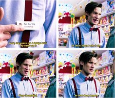 """From Closing Time. """"Look, they gave me a badge with my name on it, in case I forget who I am. Very thoughtful, as that does happen."""" #doctor #who"""