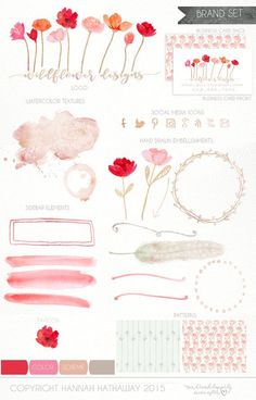 Business Identity Brand Set: Pre Made Wild Flower Feminine Watercolor Painted Logo (Item #139BK)