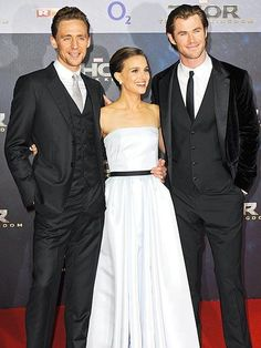 And they look Marvel-ous! Costars Tom Hiddleston, Natalie Portman and Chris Hemsworth light up the red carpet at the Berlin, Germany, premiere of their superhero flick, Thor: The Dark World. http://www.people.com/people/gallery/0,,20749388,00.html#30042982