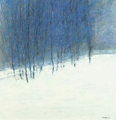 Restless' Beautiful World — art-mysecondname: George Shipperley Abstract Landscape Painting, Landscape Art, Landscape Paintings, Abstract Art, Winter Landscape, Winter Art, Paintings I Love, Pastel Art, Tree Art