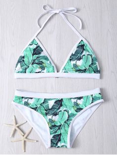 Halter Leaf Printed Bikini Set - GREEN L